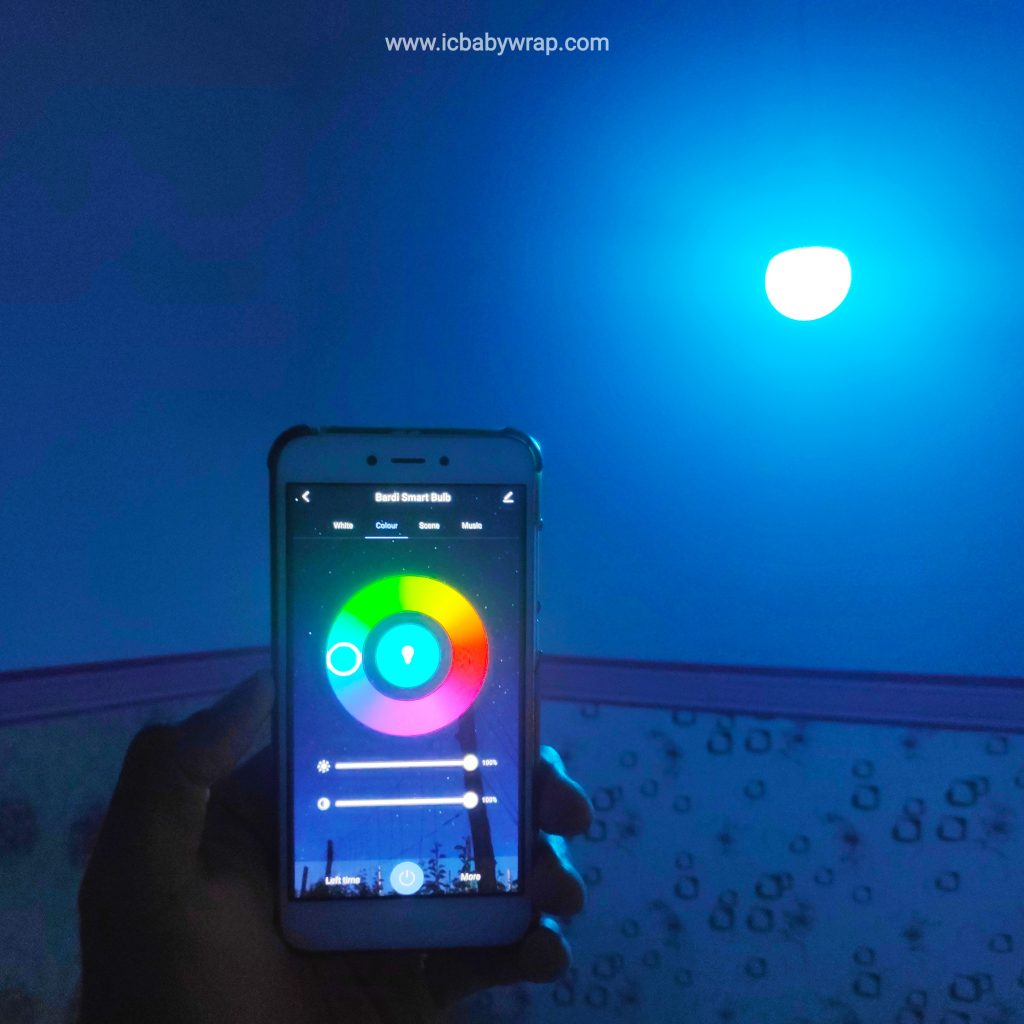 Tampilan aplikasi BARDI Smart Bulb 9W RGBWW